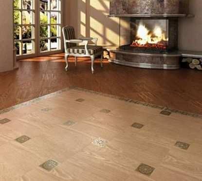 Использование дерева и керамической плитки в одном помещении